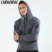 CARWORNIC New Fitness Long Sleeve T-shirt Men Hoody Bodybuiliding Workout Sporting Shirt Quick Dry Breathable Elastic Gyms