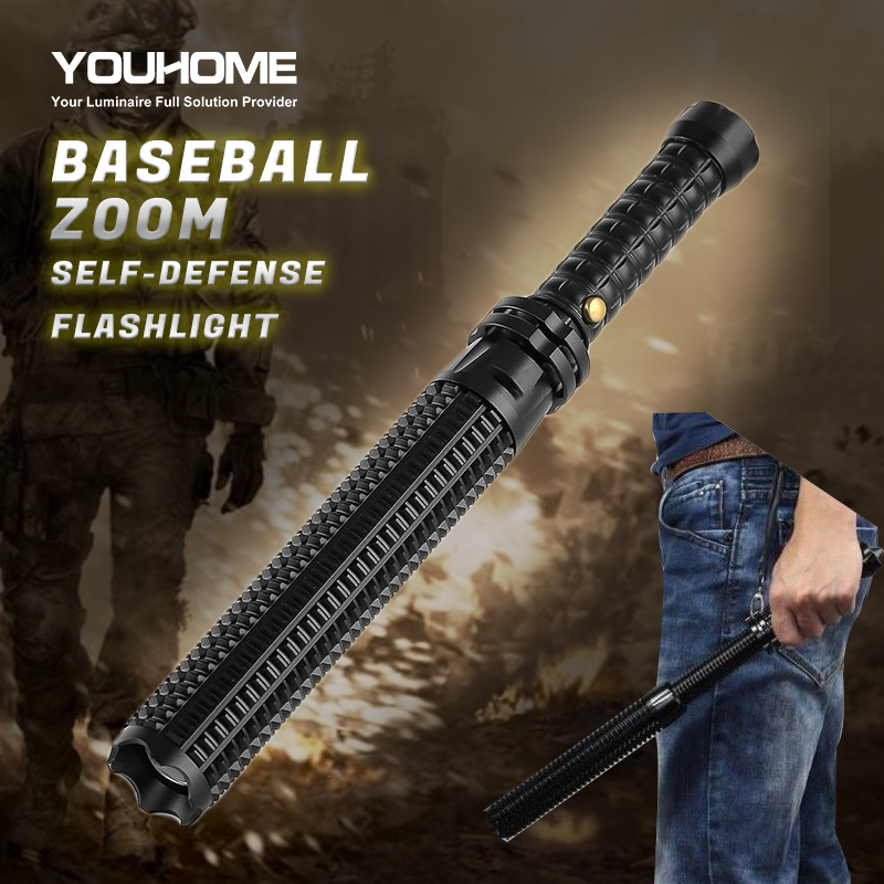 Baseball Bat LED Flashlight CREE L2 Super Bright Zoomable waterproof outdoor lamp alu. alloy Torch for Emergency Self Defens(China)