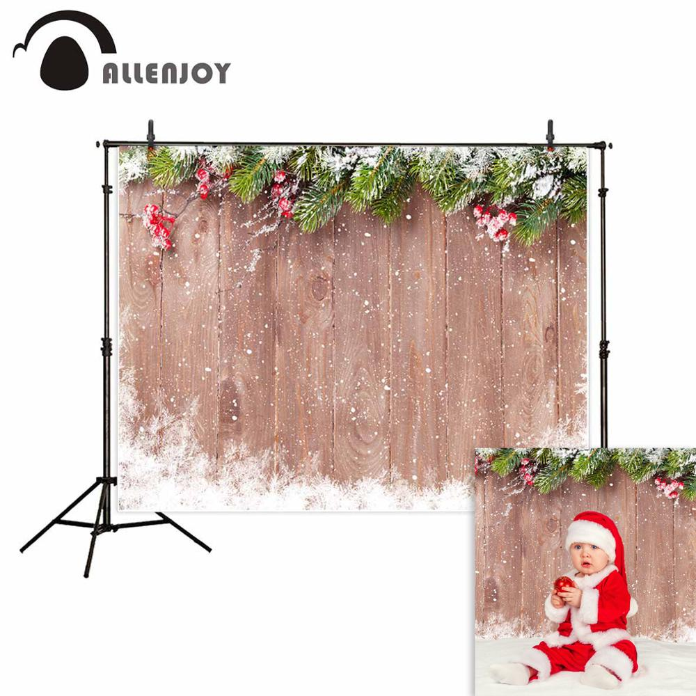 Allenjoy Christmas backdrop background Wooden wall snowflake pine branches decoration newborn for photography photocall