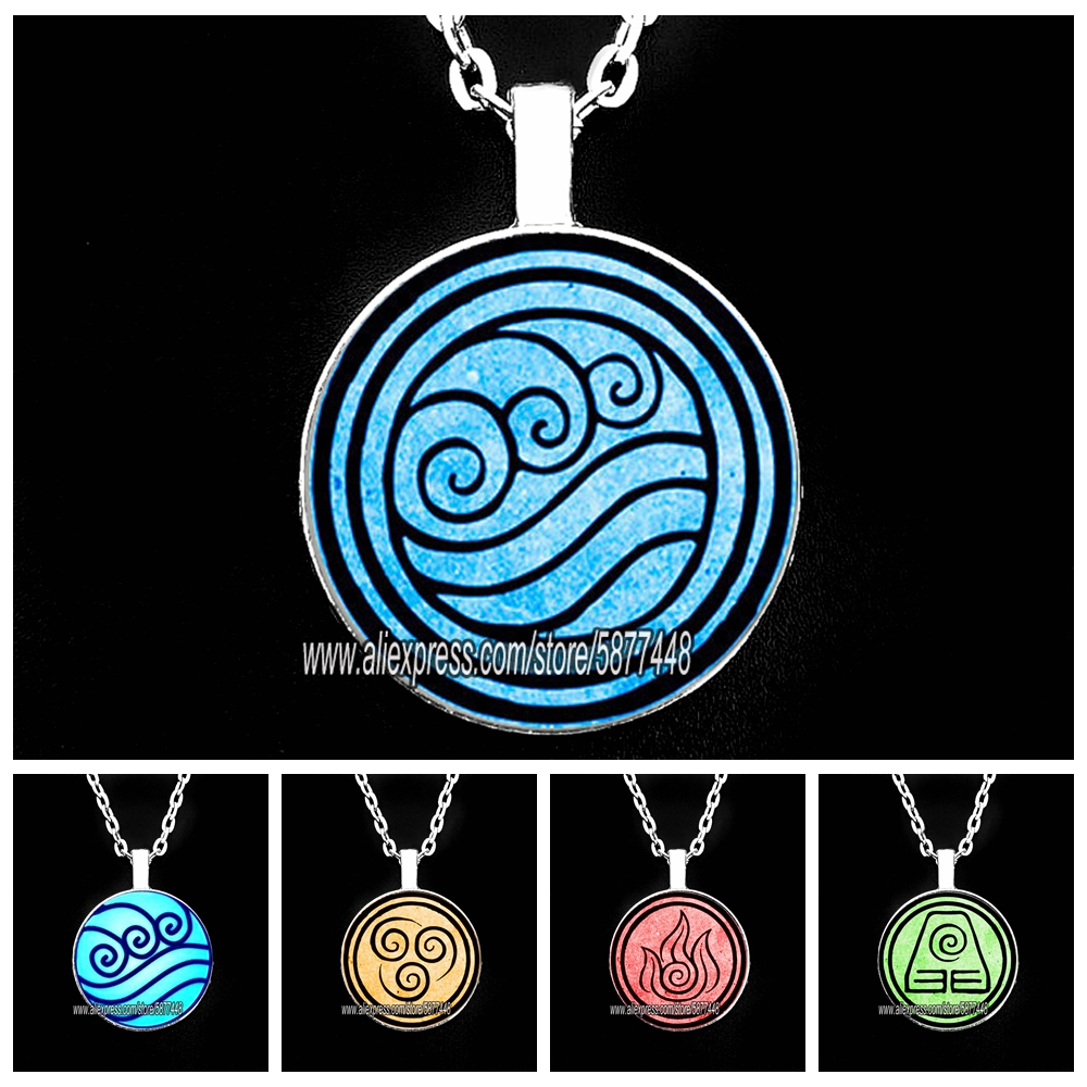 New Avatar The Last Airbender Man Necklace Kingdom Jewelry Air Nomad Fire and Water Tribe Pendant Glass Cabochon Necklaces
