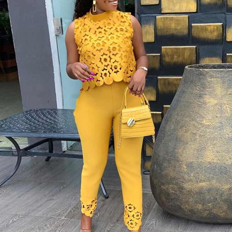 Zomer Herfst Womens Tweedelige Sets 2019 Lace Hollow Out Crop Top & Broek Set Elegante Pak Lady Office Werk party Outfits