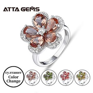 Женское серебряное кольцо с зултанитом, в турецком стиле с разноцветными цветами