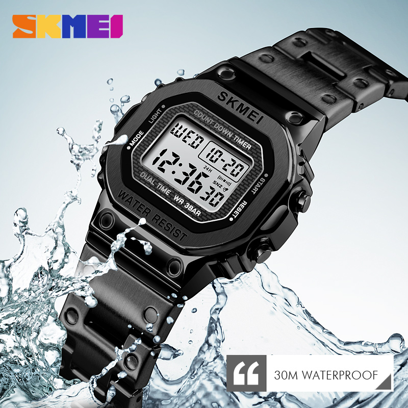 <font><b>SKMEI</b></font> Retro Fashion Digital Watch Women Waterproof Multi-Function Watch Stainless Steel Strap Reloj Digit Mujer Wristwatch Clock image