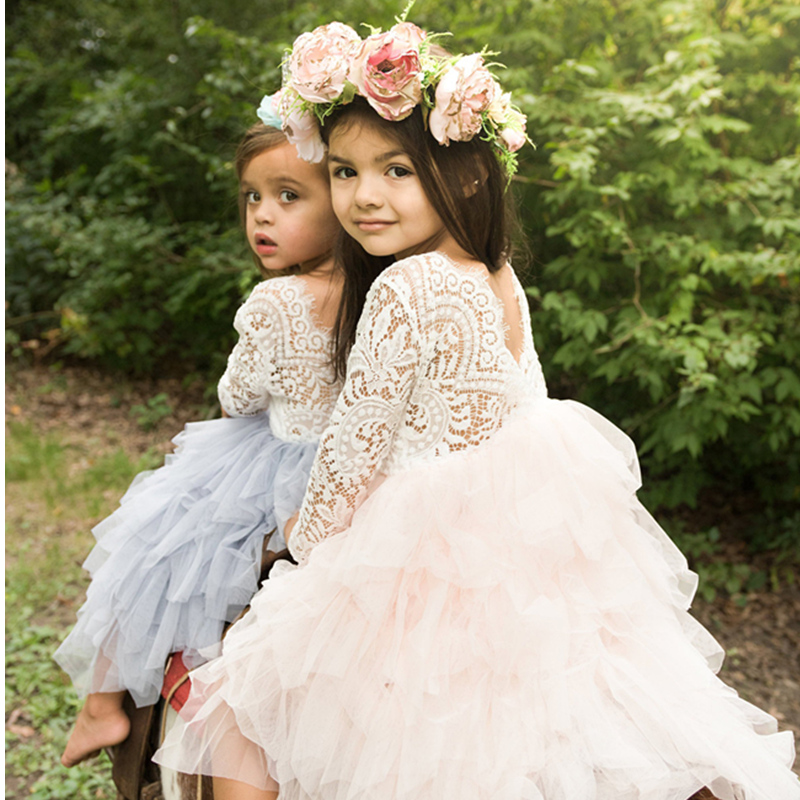 Baby Children Girl Dress 2018 Kids Ceremony Party Dresses Tulle Lace Flower Girl Wedding Gown Baby Girl Graduation Dress 4