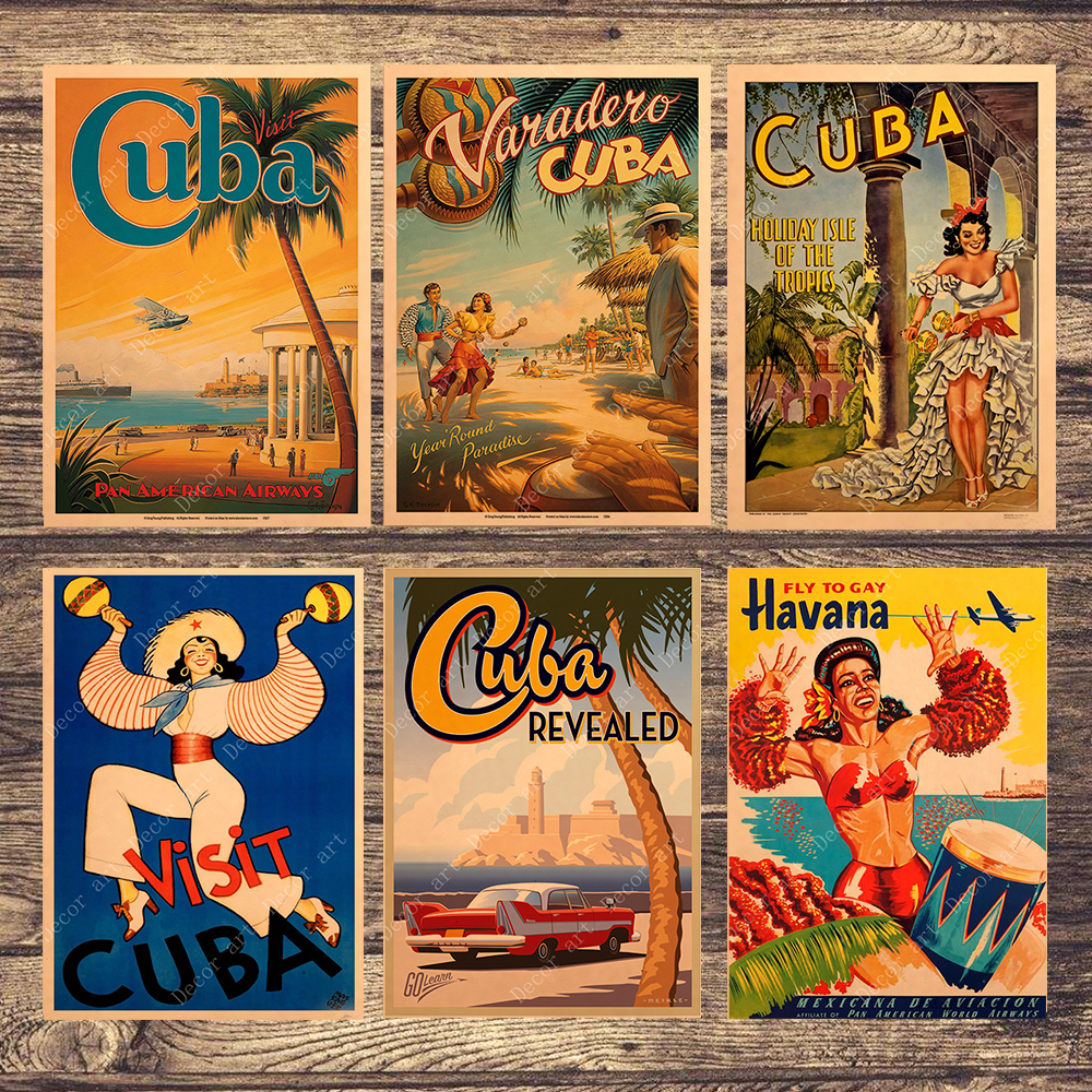 Cuba Havana Beach Travel Canvas Painting Vintage Wall Pictures Kraft Posters Coated Wall Stickers Home Decoration Gift image