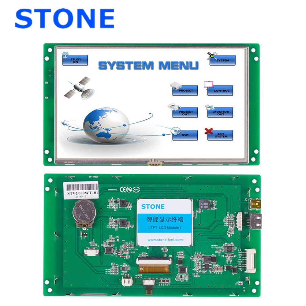 <font><b>7</b></font> <font><b>inch</b></font> Serial <font><b>LCD</b></font> Display Module with Program + Touch Screen for Equipment Control Panel STVC070WT-01 image