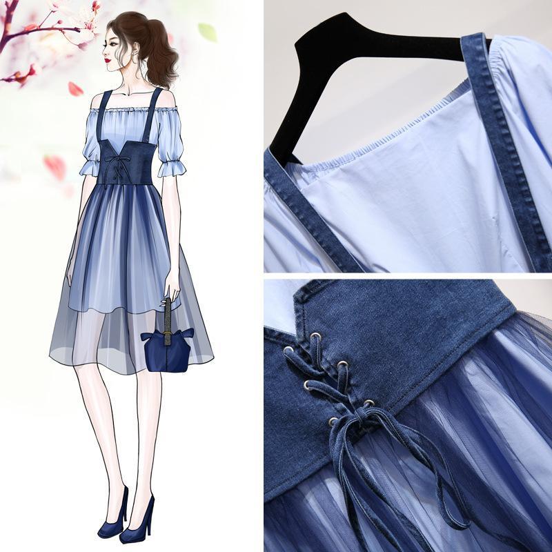 ICHOIX Korean Style Mesh Dress 2 Piece Set Women Summer 2 Piece Outfits Casual Sexy 2 Piece Skirt Set A-line Long T-shirt Dress