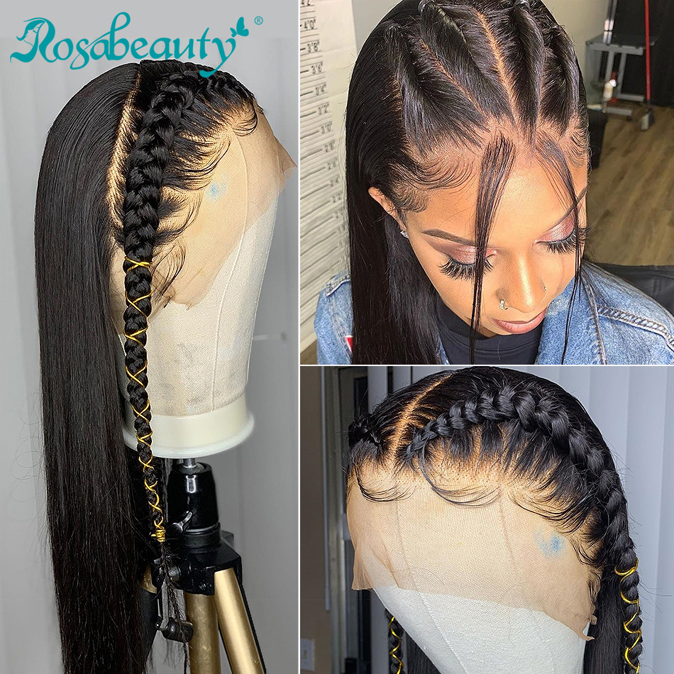 Rosabeauty Long 360 Lace Frontal Wig Pre Plucked With Baby Hair Brazilian Straight Lace Front Human Hair Wigs For Black Women