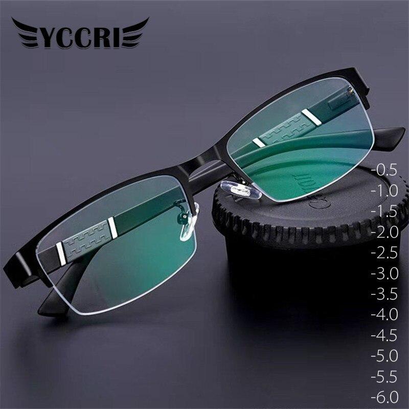 Yccri 2020 nova tendência óculos de leitura miopia óculos homens de alta qualidade metade quadro diopters negócios escritório óculos-0.5 a-6.0