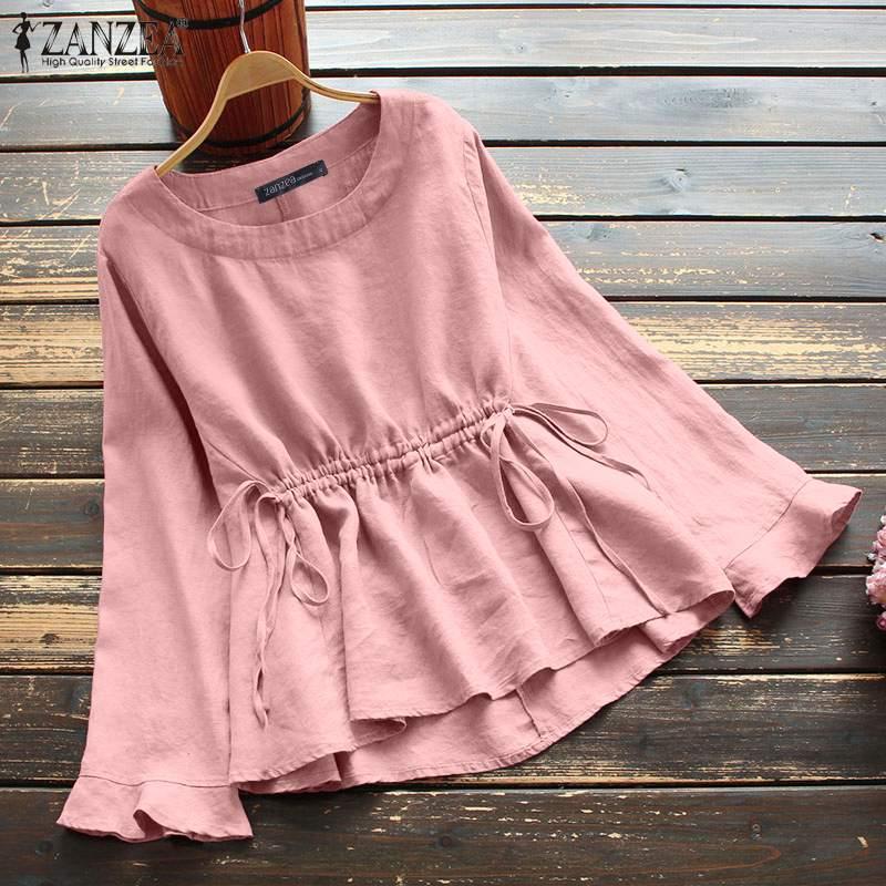 Кафтан с высокой талией, Женская Весенняя блузка ZANZEA 2021, повседневные рубашки с длинным рукавом, Женская туника на шнуровке, большие размеры