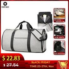 OZUKO büyük kapasiteli erkek seyahat çantası çok fonksiyonlu takım elbise depolama el bagaj çantaları gezisi su geçirmez silindir çanta ayakkabı cebi ile