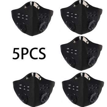 5PCS Half Face Reusable Dustproof Respirator Sport Cycling Bicycle Bike Face Mouth Mask with Exhaust Valves Mascarillas