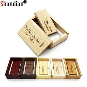Image 1 - SHANDIAN (Free custom logo) wooden USB flash drive USB+box pendrive 8GB 16GB 32GB custom LOGO for photography wedding gift