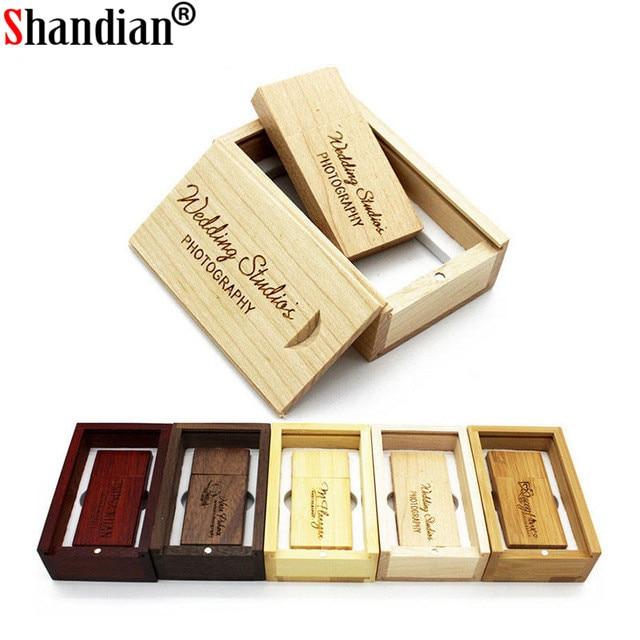SHANDIAN (Free custom logo) wooden USB flash drive USB+box pendrive 8GB 16GB 32GB custom LOGO for photography wedding gift