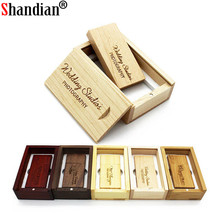 SHANDIAN (darmowe własne logo) drewniana pamięć USB USB + pudełko pendrive 8GB 16GB 32GB własne LOGO do fotografii prezent ślubny