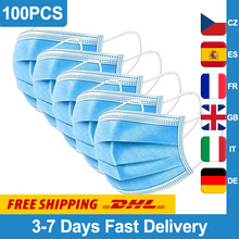 100Pcs Disposable Surgical mask Face Mouth Masks 3-Layer Filter Non Woven Medical Anti-Dust Surgical Earloops Masks
