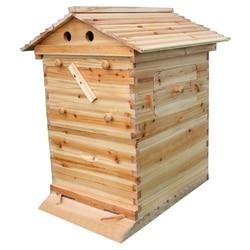 Automatische Beehive Haus mit 7PCS Fluss Kamm Honig Holz Beehive Rahmen Kunststoff Bienenzucht Ernte Rohre Kit Imker Werkzeuge
