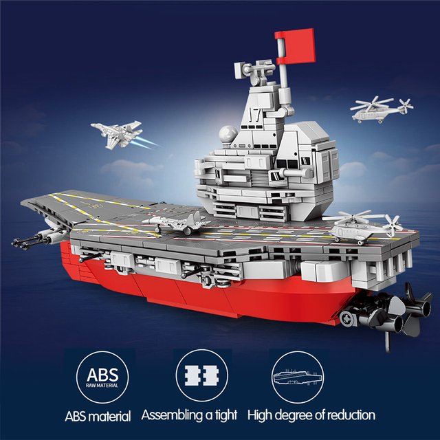 458PCS WW2 Weapon Technic Warship Ship Building Blocks Military Navy Boat Aircraft City Police Figures Bricks Toys for Children