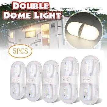 5Pcs RV Double Dome Light, 12V Fixture Roof Ceiling Reading Light 6000K Camper Trailer