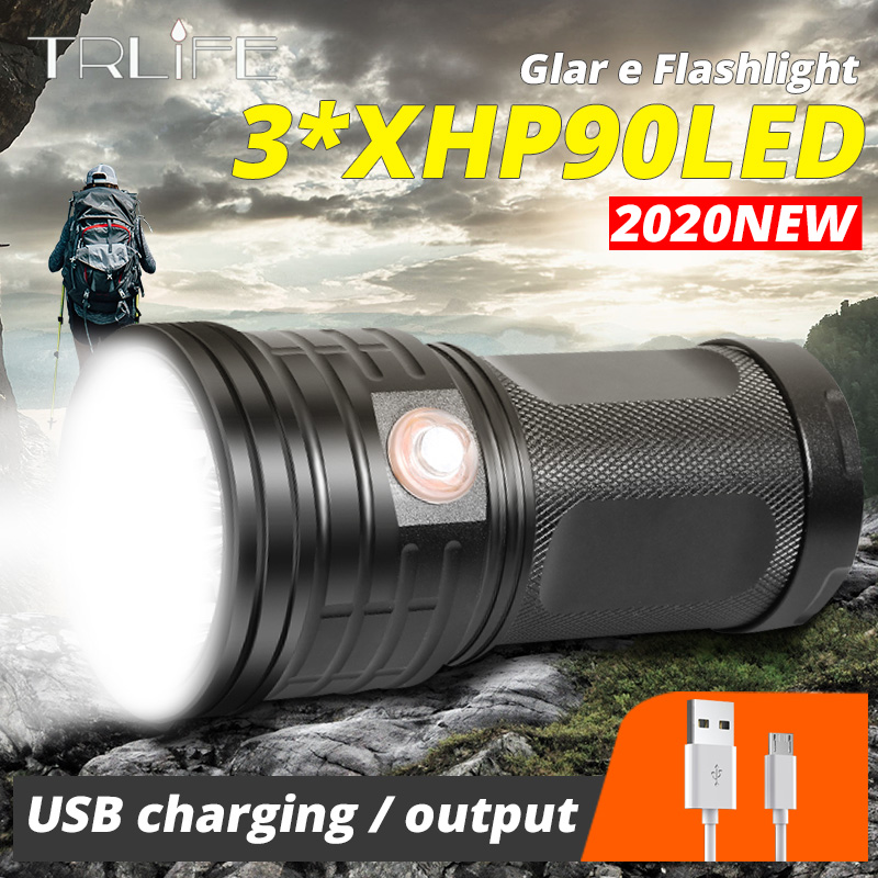 Xlamp LED Searchlight Ultra Powerful T6 Flashlight XHP90 Torch Lanterna USB Charging Lamp Portable Power Bank Light By 18650