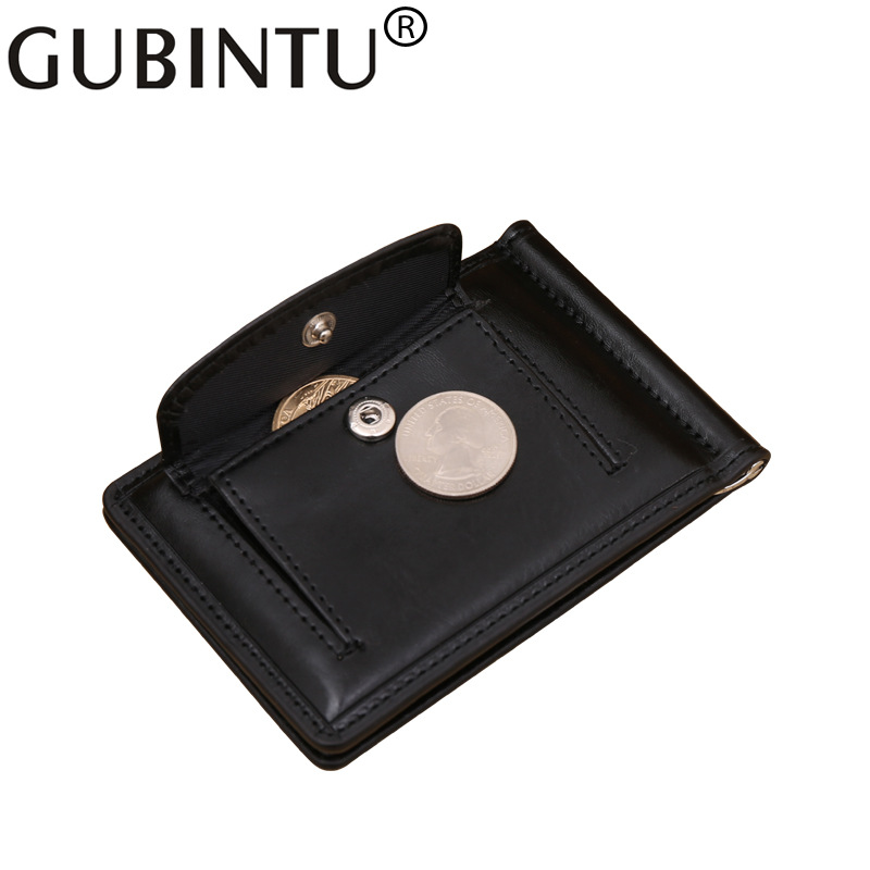 Top Quality Simple Style Money Clip Wallet With Coin Pocket Leather Clamp For Money Crad Holder Leather Purse For Men Gift