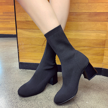 Sexy High Heels Boots Women Elegant Sock Slip On Black Fashion Ankle 2019 Autumn