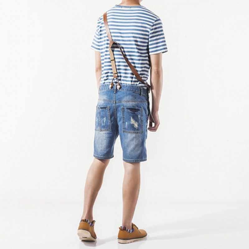 Menswear 2020 Sommer Heiße Art Und Weise Mens Overalls Beiläufige Distressed Knie Länge Overalls Zipper High Street Shorts Denim Hose Mann