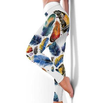 New arrival kobiety legginsy trening legginsy sportowe cyfrowy nadruk z piór Stretch Fitness spodnie do biegania wysokiej talii leginsy Push-Up tanie i dobre opinie burlapp Kostek CN (pochodzenie) REGULAR HIGH SEAM Spandex(10 -20 ) STANDARD Sukno push up leggings WOMEN Na co dzień POLIESTER