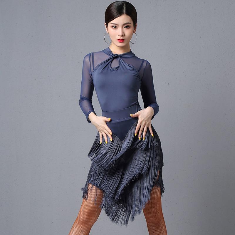 Latin Dance Dress For Women Long Sleeve Tops Fringe Skirt Ballroom Dance Competition Dress Rumba Samba Tango Dancewear DQL3034