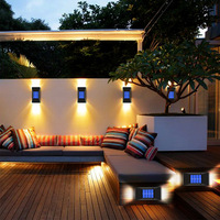 2pcs led solar wall light outdoor ip65 waterproof solar powered lamps wall lamps for garden decor 6led street lighting lamp