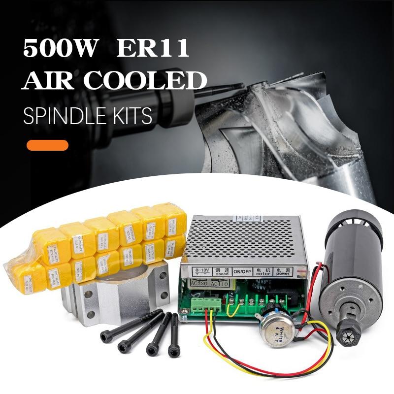 С воздушным охлаждением 0,5 кВт с воздушным охлаждением шпинделя ER11 патрон CNC 500 Вт Шпиндельный двигатель + регулятор скорости электропитания...