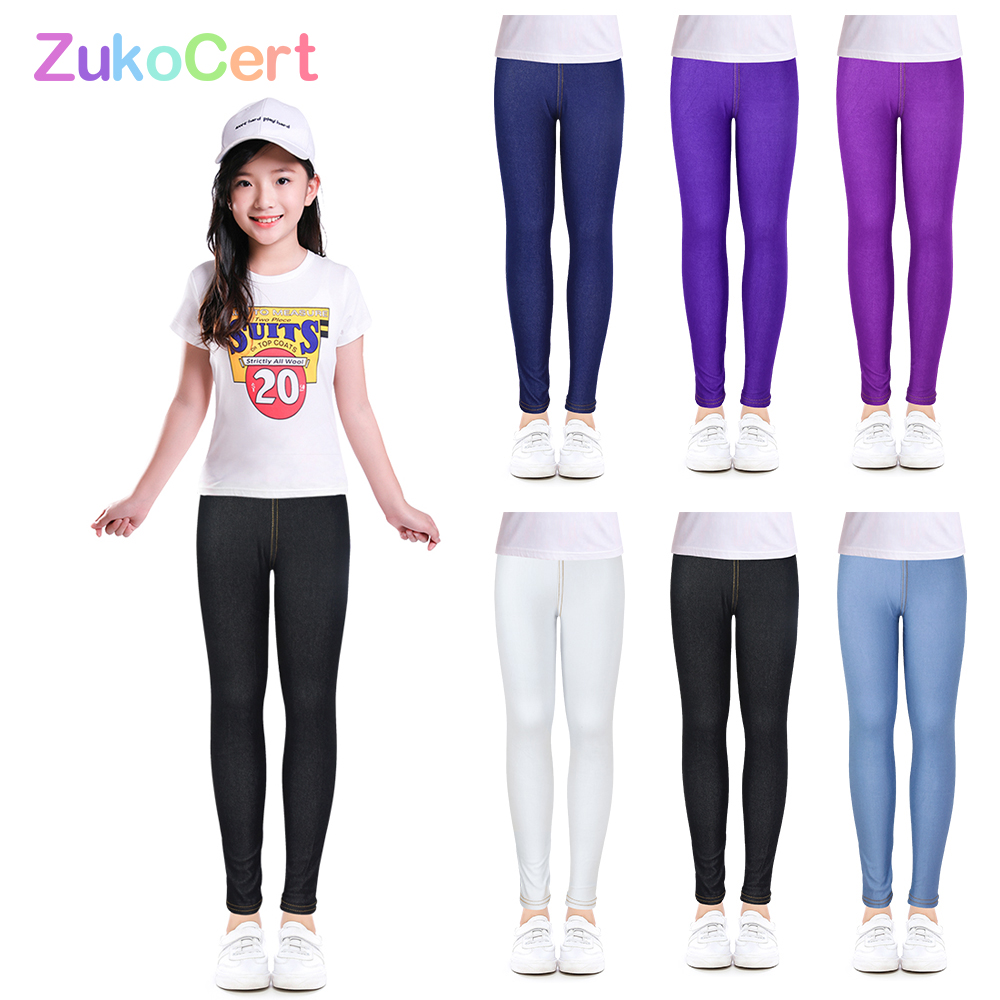 Jeggings Jeans For Girls Pencil knit Imitation Jeans Kids Candy Colore Mid Waist Full Length Pants Children Clothing 1