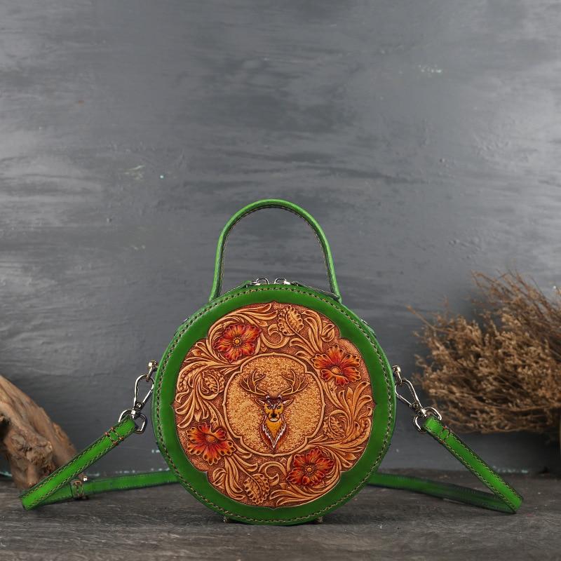 Кожаная женская сумка в стиле ретро, кожаная оригинальная женская сумка с наклонным ремешком, кожаная маленькая круглая сумка с резным узором - 3