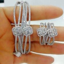 GODKI Luxus 2PCS Dubai Armreif Ring Set Mode Schmuck Sets Für Frauen Hochzeit Engagement brincos para als mulheres 2020