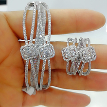 Godki Luxe 2 Stuks Dubai Bangle Ring Set Mode sieraden Sets Voor Vrouwen Wedding Engagement Brincos Para Als Mulheres 2020