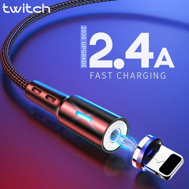 Cabo usb magnético para iphone, cabo de carregamento rápido para iphone 11, 7, 8, plus, xr, x, xs, max cabo de cabo de telemóvel 1