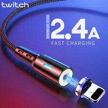 Cabo usb magnético para iphone, cabo de carregamento rápido para iphone 11, 7, 8, plus, xr, x, xs, max cabo de cabo de telemóvel
