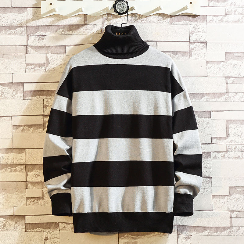 2019 Autumn Sweater Trend Man Knitting Unlined Upper Garment Stripe Sleeve Head Pullover Men Large Size 5XL Free Shipping Black