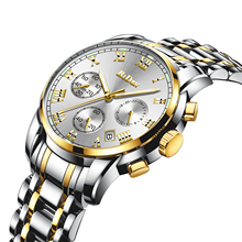 купить BIDEN Business Mens Watch Top Brand Luxury Golden Stainless Steel Waterproof Relojes Hombre 2019 Male Wrist Watches Clocks Hour дешево
