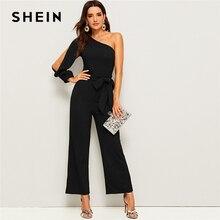 SHEIN สีดำหนึ่งไหล่แขนแยกขากว้าง Belted Maxi Jumpsuit ผู้หญิงฤดูใบไม้ร่วงซิปด้านข้างขากว้าง Abaya เซ็กซี่ jumpsuits