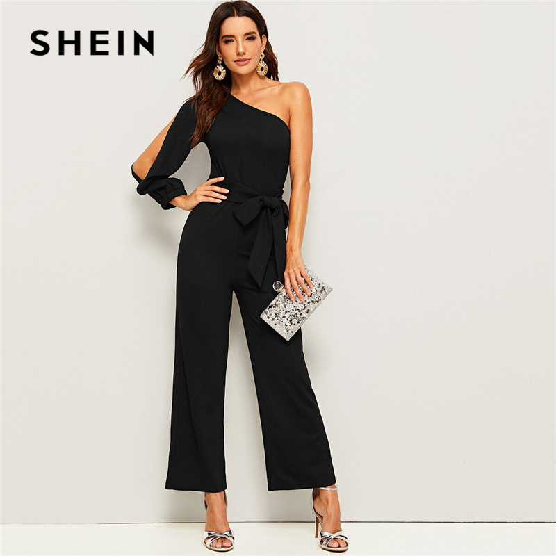 SHEIN Black One Shoulder Split Sleeve Wide Leg Belted Maxi   Jumpsuit   Women Autumn Solid Zipper Side Wide Leg Abaya Sexy   Jumpsuits
