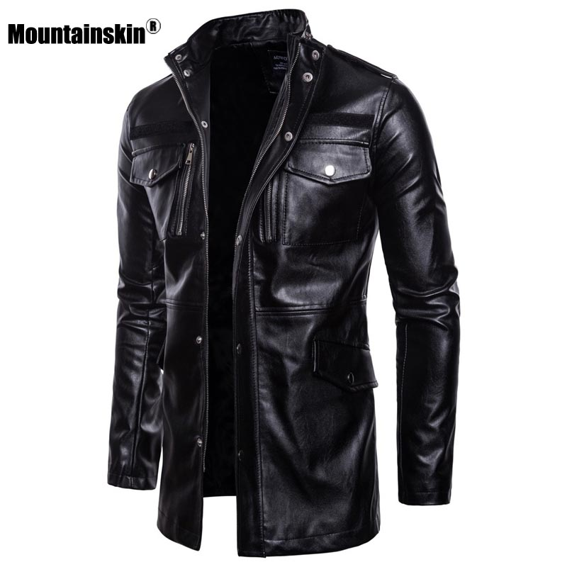 Mountainskin New Men's Motorcycle PU Coat 2020 Spring Mens Leather Jacket Fashion Long Outerwear Male Brand Clothing SA879