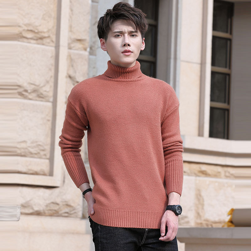 New autumn winter 2019 men 39 s loose knit teenage sweaters with solid colors and thickened turtlenecks and base sweaters in Pullovers from Men 39 s Clothing