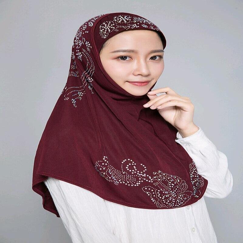H006 alta qualidade médio tamanho 70*60cm muçulmano amira hijab com strass puxar em lenço islâmico cabeça envoltório orar cachecóis