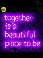 Together is a beautiful place to be Neon Sign neon bulb Sign Commercial Light Neon Tube Sign Neon Light Sign Glass Palm Trees