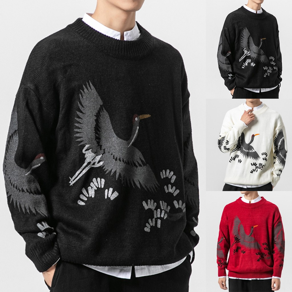 Men Sweater Ethnic Style Embroidery Pullover Large Size Coat M-5XL Plus Size Autumn Winter Pull Homme Hombre Sueter Hombre