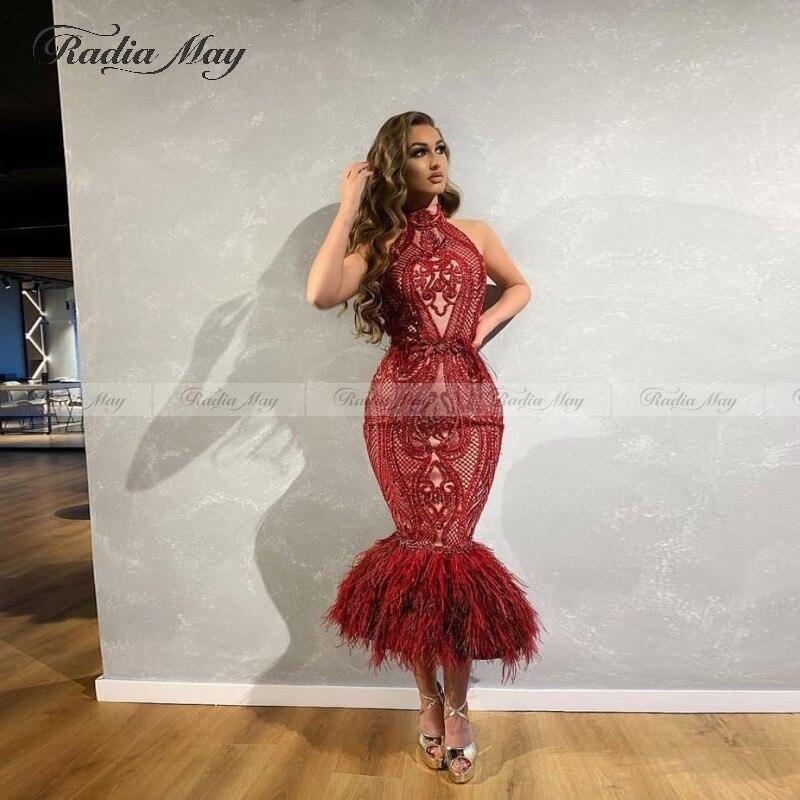 Vintage Tea Length Lace Mermaid Prom Dresses Arabic Feather Halter Backless Short Evening Dress 2020 Dubai Women Formal Gowns
