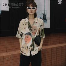 CHEERART – Chemisier imprimé Ukiyoe pour femme, chemise d'été, inspirée du mouvement artistique japonais, col ouvert montant, manches courtes, à boutonner, Streetwear, 2020
