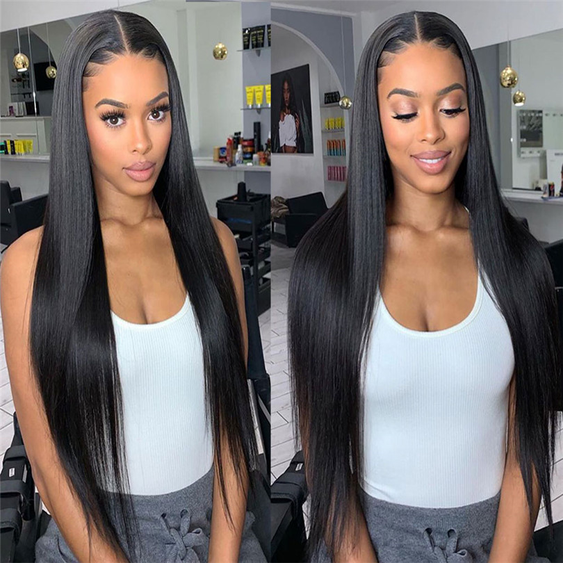 Yaki Straight 13*4 Lace Front Wigs Heat Resistant Fiber Synthetic Wig For Women Pre Plucked With Natural Hairline And Baby Hair