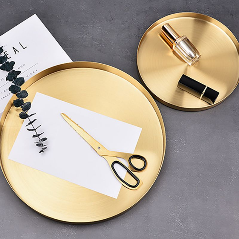 Golden Tray Round Food Jewelry Display Tray Stainless Steel Ring Necklace Storage Pan Luxury Home Tea Tray Organizer|Storage Trays| |  - title=